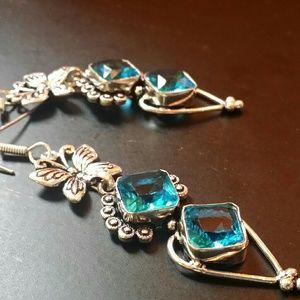 Blue Topaz earrings 925 Sterling Silver natural